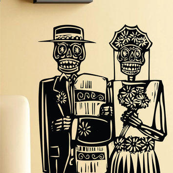 Day of the Dead Wedding Couple Wall Vinyl Decal Sticker Art Graphic Sticker Sugar Skull Sugarskull