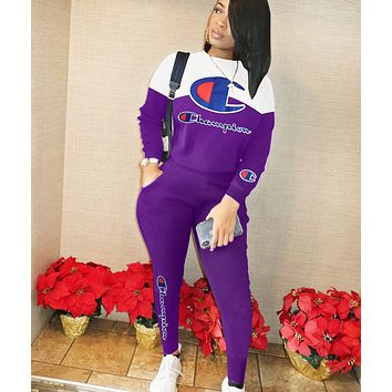 Champion Fashion New Letter Print Solid Color Sports Leisure Long Sleeve Top And Pants Two Piece Suit Purple