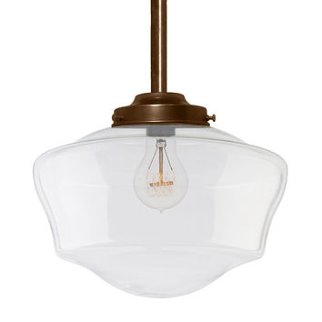 Schoolhouse Clear Glass Bronze Pendant Light