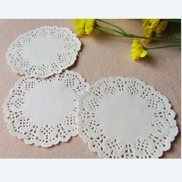 "100 Pcs 3.5""=88 mm White Round Lace Paper Doilies / Doyleys,Vintage Coasters / Placemat Craft Wedding Christmas Table Decoration"