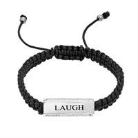 Crystal Silver-Plated ''Live, Love, Laugh'' Spinner Bar Cord Bracelet (White)