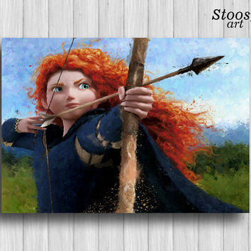 be brave poster disney princess art merida painting be brave decor