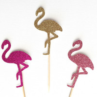 Glitter Flamingo Cupcake Toppers - Flamingo Party Toppers - Set of 12 - Flamingo Party Decoration // Tropical Birthday Party Supplies