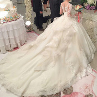 Elegant Long Wedding Dresses 2017 Illusion Neck Long Sleeve Lace Appliques Court Train Ball Gown Bridal Dress Gowns