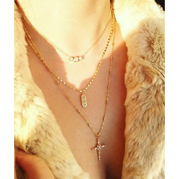 Crystal Cross Layered Necklace