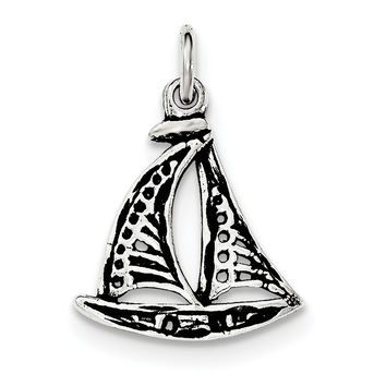 Sterling Silver Antiqued Sail Boat Pendant QC8687