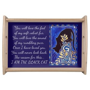 I love Black Cat Quote with Monogram Serving Tray