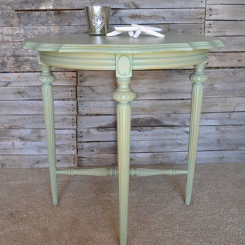 Vintage Distressed Shabby Chic Sage Green Side / End Table