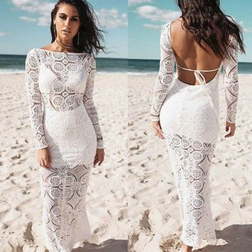 Women Summer Boho Beach Long Maxi Party Dress Sexy Backless Long Sleeve Lace Floral Dresses Sundress Vestidos Outfit