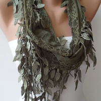 Lace - Olive Green - Lace Scarf with Green Trim Edge