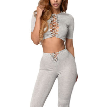 Crop Lace-up Top and Pant Set