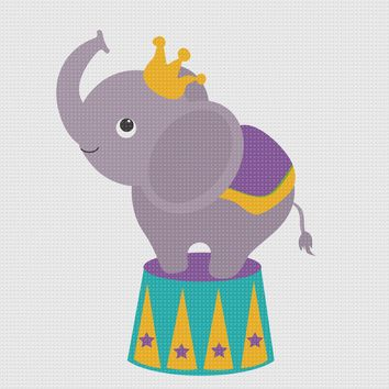 Contemporary Circus Elephant Hand Embroidery Pattern