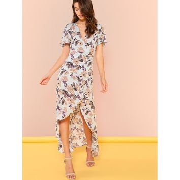 Petal Sleeve Wrap Dip Hem Dress