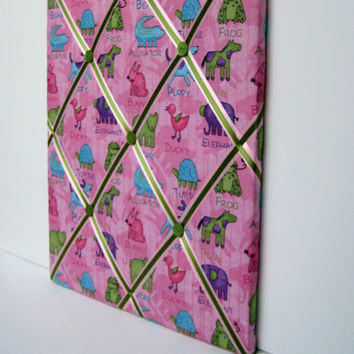 Baby Photo Memo Board, French Memory board style with Bright pink, turquoise and green colors