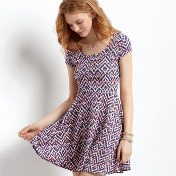 Aeropostale  Ikat Cap-Sleeve Dress
