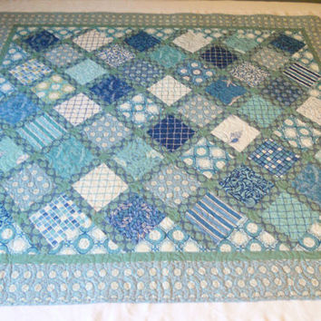 Modern Lap Quilt Sofa Throw Seascapes Beach Decor Blue Aqua Teal