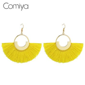 Comiya Tassel Line Earrings For Women Gold Color Zinc Alloy Geometric Pattern Ethnic Handmade Statement Accessories Long Earring