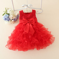 Red Baby Christmas Dresses For Girls  Lace Pearls Girls Christening Dress Baby Girl Tutu Dress Kids Children Holiday Clothing