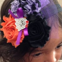 Orange Purple And Black Color Halloween Chiffon by MiShaMeDesigns
