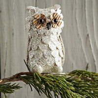 Glitter Owl Ornament (Set of 4)