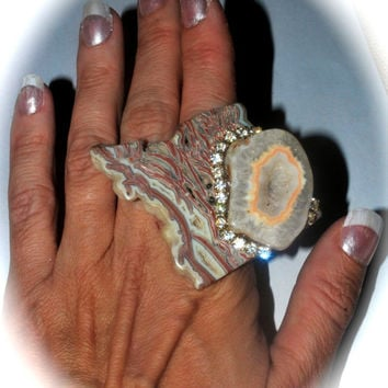 YOUNGITE AND DRUZY agate statement ring by Josette Redwolf Agate druzy, Cocktail Ring, Statement Ring, Adjustable Ring, Gemstone Ring