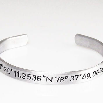 "Coordinate Cuff Customized Hand Stamped GPS Bracelet Personalized Custom Bracelet 1/4"" Wide Customize This Christmas Gift Stocking Stuffer"