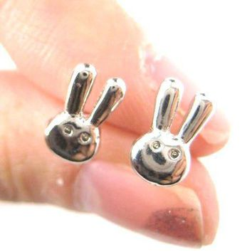 Tiny Bunny Rabbit Miffy Animal Themed Stud Earrings in Silver