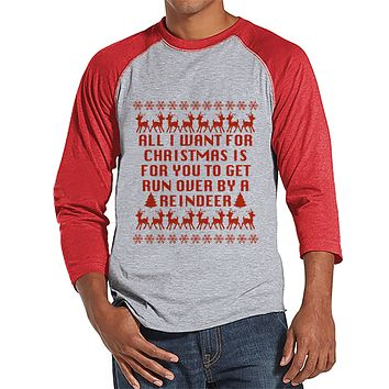 Funny Men's Christmas Shirt - Ugly Christmas Sweater Party - Ugly Sweater Gift for Him - Red Raglan Tee - Christmas Gift Idea