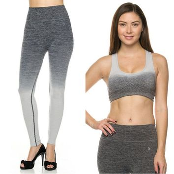 Seamless Ombre Workout Yoga Leggings + Padded Sports Bra Activewear Set Clothes