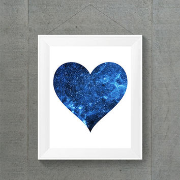 Blue Galaxy Heart Print, Space Home Decor, Galaxy Heart Decor, Cute Dorm Decor, Alien Home Decor, Space Dorm Decor, 8x10 Print