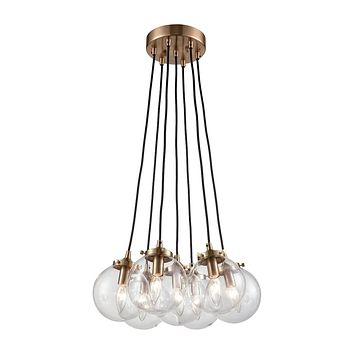14465/7 Boudreaux 7 Light Chandelier In Satin Brass With Clear Glass