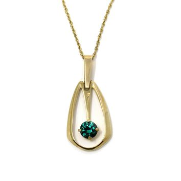 Vintage Modernist Created Emerald Necklace by Carl Art, Vintage, 1930s to 1980s