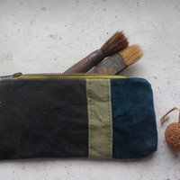 Waxed Canvas Pencil Case, Small Make Up Bag  Waxed Canvas Green Grey Handmade Small Clutch Bag,