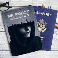 Mr Robot Leather Passport Wallet Case Cover