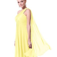 Ever Pretty NWT One Shoulder Ruffles Padded Bridesmaid Dress 03537:Amazon:Clothing