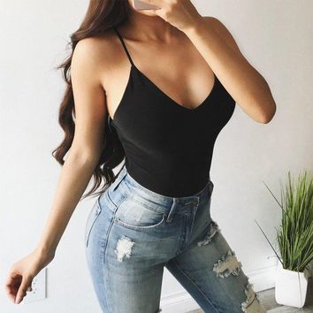 Solid Color Sexy Women New Fashion Bodysuit Clothes High Waist Bandage Womens Sleeveless Leotard Stretch Body Playsuit