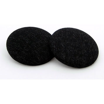 Oversized Dark Denim Fabric Button Earrings