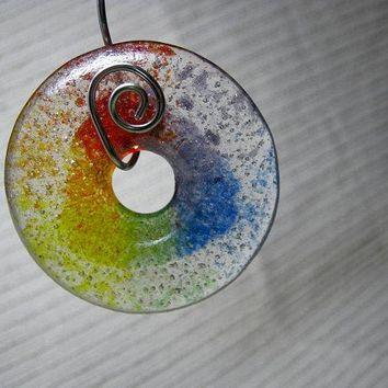 Jewelry Making Supplies - Double Rainbow Meditation Circle / Large Round Donut Focal Bead / ROYGBIV