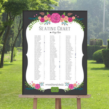 Wedding Seating Chart with Bright Flowers, Seating Sign, Chalkboard wedding sign, Find your seat - THE CARINA