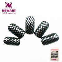 New Arrival Long False Nails with Glue Full Cover Fake Nails Tips Artificial ABS Water Transfer Nail Art Women Beauty 12 pcs