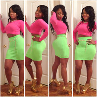 Pink and Green Cropped Top and Mini Skirt