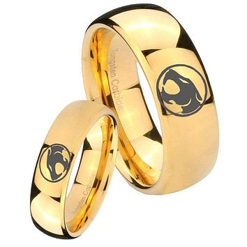 His Her Glossy Dome Thundercats 14K Gold IP Tungsten Wedding Rings Set