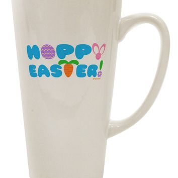 Cute Decorative Hoppy Easter Design 16 Ounce Conical Latte Coffee Mug by TooLoud