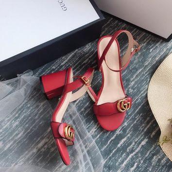 Gucci GG Women Red Leather Mid-heel Sandals - Best Deal Online