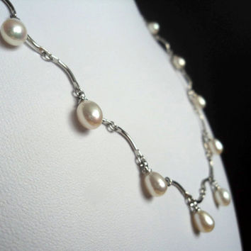 White Pearl Necklace Wave by Lunarpearl on Etsy