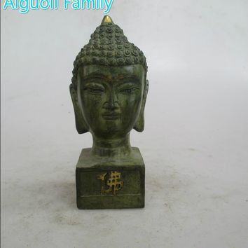 AAA+Rare Chinese Old Bronze Carved Buddha Head Seal Sculpture/Art Statue For Home Decoration Antique Collection