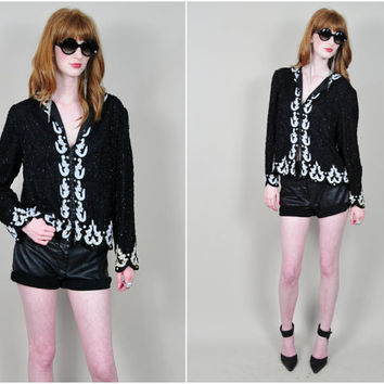 VINTAGE 80s SCALA black & white sequin beaded art deco baroque trophy glam draped silk jacket
