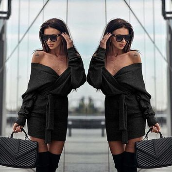 Fashion Solid Color Off Shoulder Strappy Long Sleeve Mini Dress