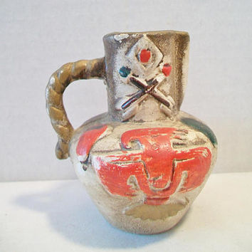 Vintage Native American Indian Pottery Pitcher Jug Vase Home Decor