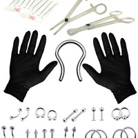 BodyJ4You Body Piercing Kit Belly Tongue Septum Retainer Eyebrow 16G 14G 36 Pieces